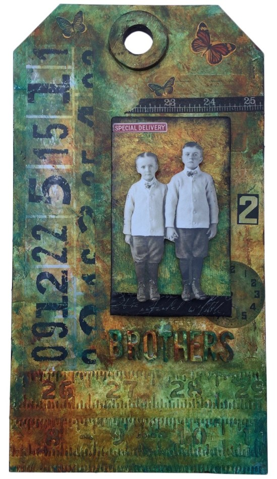 Jumbo Brothers Collage tag - Tim Holtz Etcetera tag base (Marjie Kemper)
