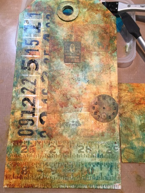 Starting to collage - mixed media Etcetera tag - Marjie Kemper