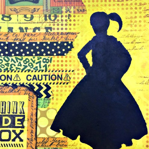 Art journaling with silhouette and tape - Marjie Kemper
