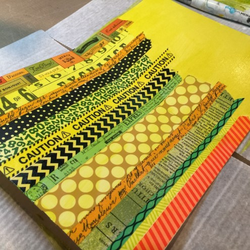 Unifying unrelated patterns with a paint wash - Marjie Kemper