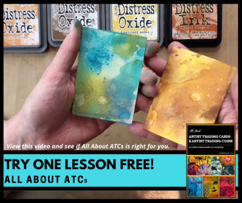 Free trial lesson of All About Artist Trading Cards & Artist Trading Coins (online mixed media workshop with Marjie Kemper)