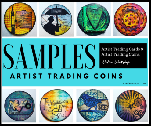 Artist Trading Coin Samples - Artist Trading Cards and Artist Trading Coins Online Workshop with Marjie Kemper