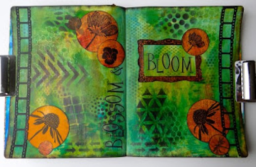 Blossom & Bloom art journal pages with paint and ink (Marjie Kemper)
