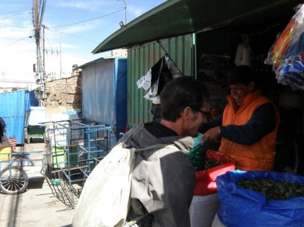 Buying fresh coca leaf at the Minder's Market