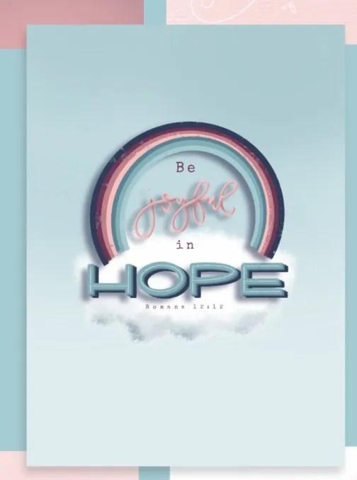 Kaart Be joyful in hope Romeinen 12