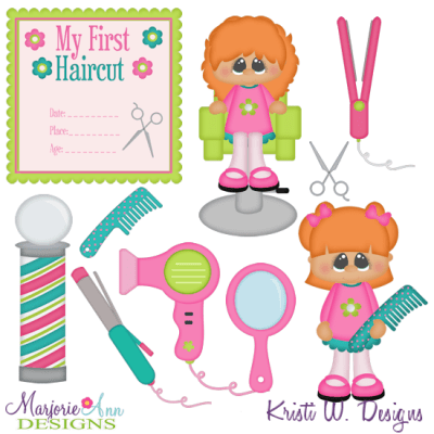 My First Haircut Girl SVG Cutting Files Clipart 650
