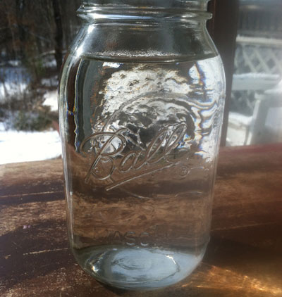 Large Mason Jar filled with water