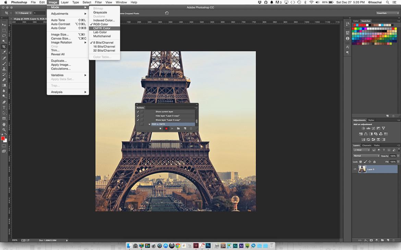 Photoshop Image Mode RGB CMYK