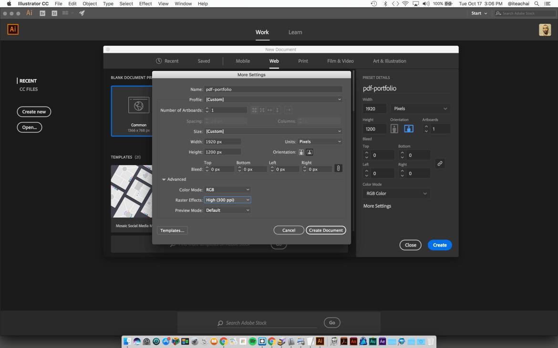 PDF portfolio template document setup