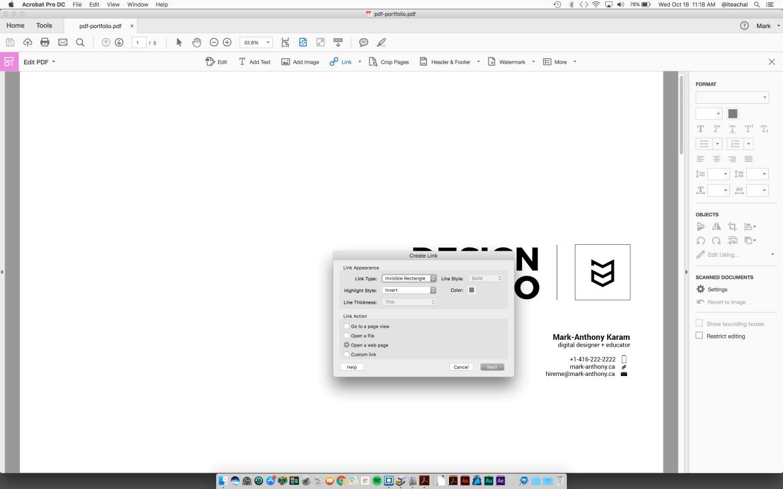 adding a web URL to Acrobat pdf