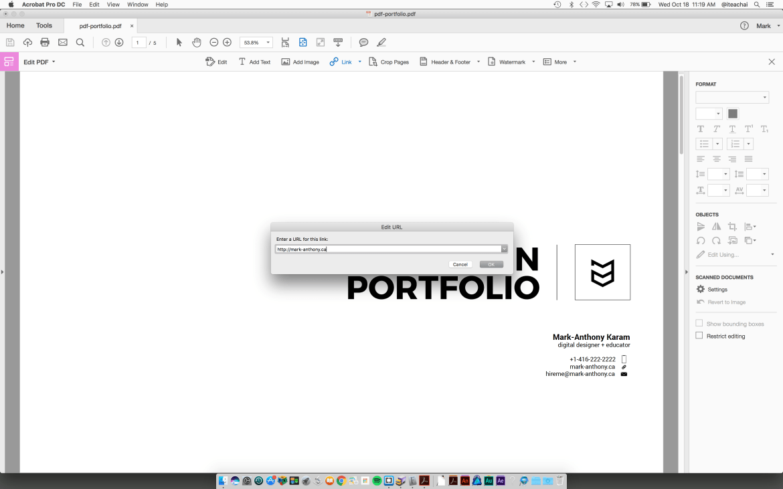 insert a URL hotspot to Acrobat pdf
