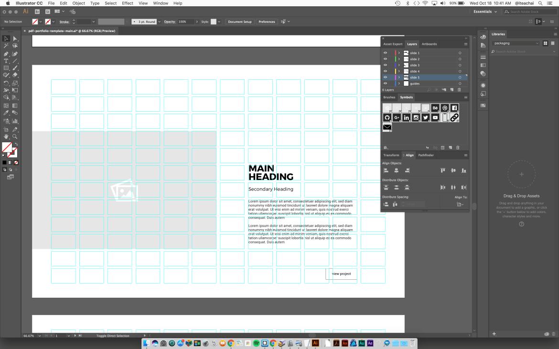 PDF portfolio template image symbols
