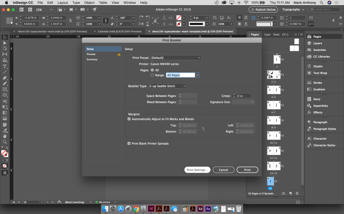 Saddle Stitch Calendar Print Setup InDesign
