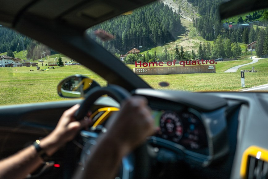 Supercars in the Dolomite mountains