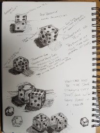 Creating Shadow using Lines and Marks - Practising with Dice