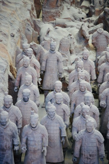partially restored terracotta warriors in Shaanxi China