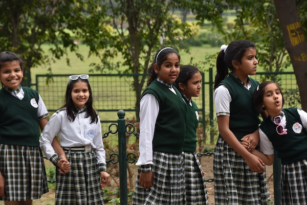 Raj Ghat - Gandhi - Gandhi memorial - New Delhi - school girls - Indian school girls at Gandhi memorial
