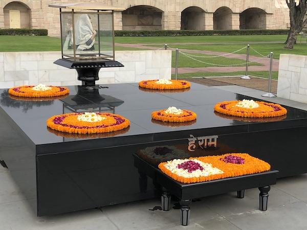 Raj Ghat - Gandhi - Gandhi memorial - New Delhi - floral wreaths at Gandhi memorial