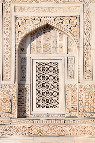Agra – Baby Taj - Tomb of I'timād-ud-Daulah – India travel - Gate 1 Travel - Mark and Chuck's Adventures - white marble - inlayed white marble - carved marble window screens