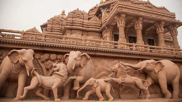 Swaminarayan Akshardham - Gajendra Peeth - pink Sandstone building- New Delhi - Hindu temple - India - elephants
