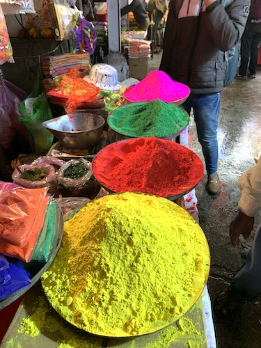 Mark and Chuck's Adventures - India Trip - Traveling in India - Traveling in India during Holi - Traveling in India during COVID 19 - brightly colored powders for celebrating Holi