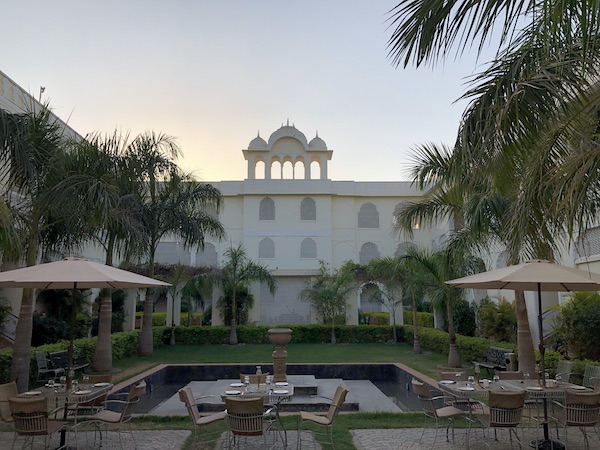 Gate 1 Travel - The Tigress Ranthambore - Ranthambore National Forest - center courtyard - outdoor dining
