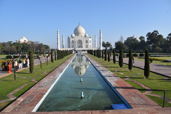 Mark and Chuck's Adventures - India trip - iconic view of the Taj Mahal - Taj Mahal - Taj Mahal and water feature - Agra