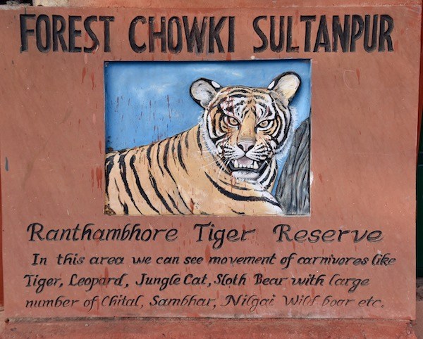 Ranthambore - Ranthanbhore - Ranthambore National Forest - Ranthambore Tiger Reserve - Forest Chowki Sultanpur - Tigers- India - Tigers in India - red sandstone sign at entrance to Forest Chowki Sultanpur