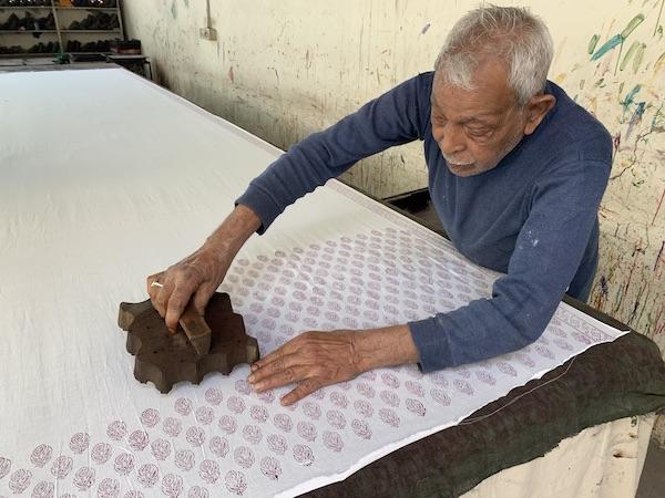 India Travel Blog – Jaipur Handicrafts – Jaipur India - India - indian textiles - block printing - Indian block printing - man block printing fabric