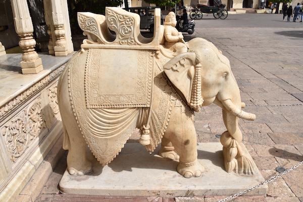 Jaipur City Palace- marble elephant - elephant sculpture - Jaipur India