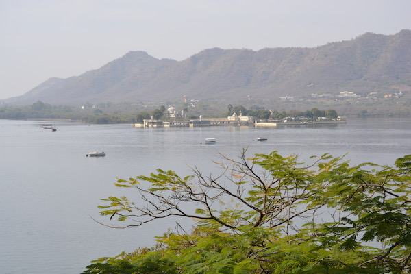Looking across Lake Pichola toward the mountains surrounding Udaipur
