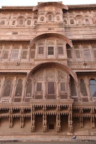 Mehrangarh Fort Jodhpur India - carved red sandstone walls
