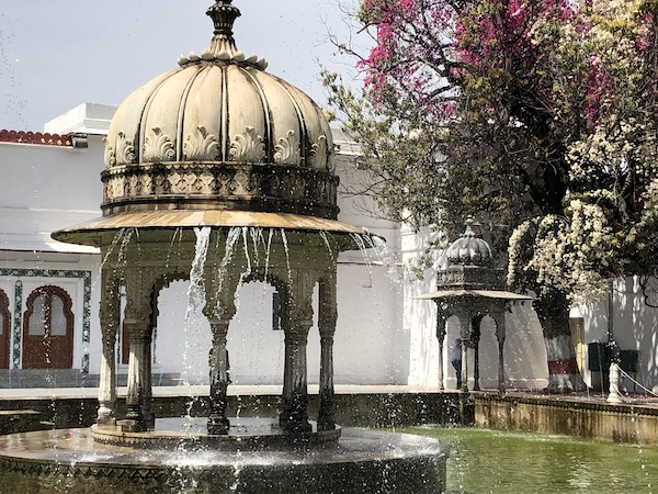 Marble kiosk in the center of a fountain at the Garden of the Maidens in Udaipur