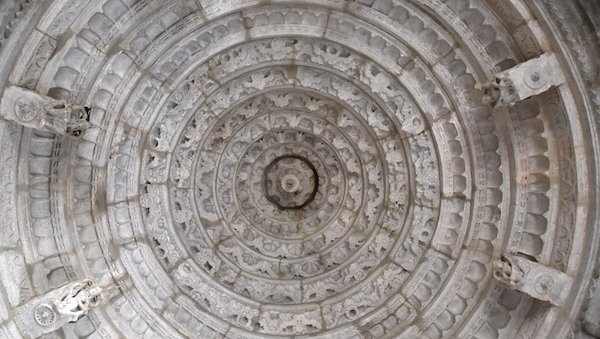 Carved dome ceiling at the Ranakpur Jane Temple