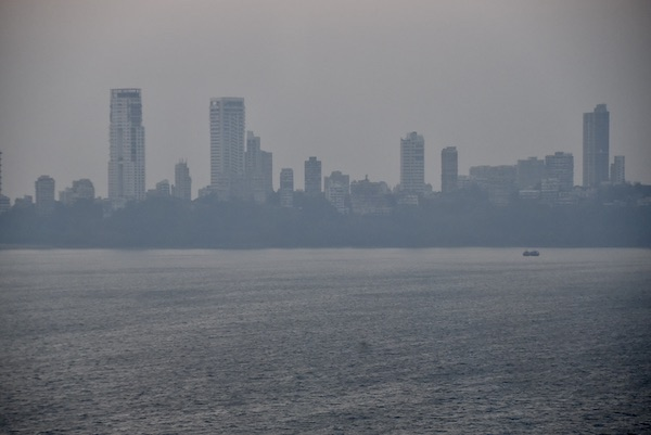 overcast view across Mumbai's back bay from the Trident Nariman Point Hotel