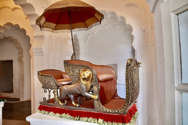 silver elephant seat - howdah -Mehrangarh Fort – Jodhpur – Rajasthan – India – India travel blog – traveling in India