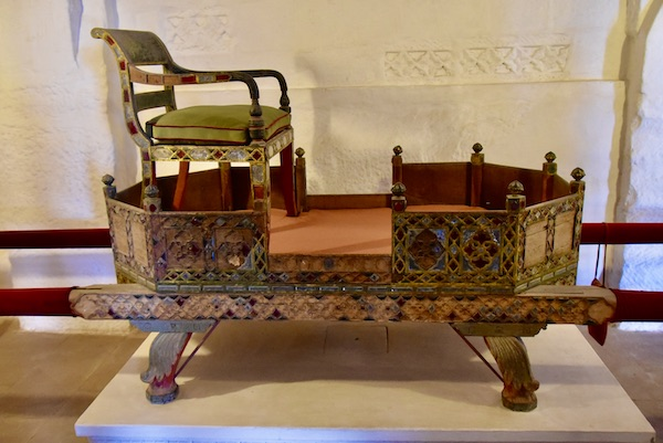 hand carved palanquin - - -Mehrangarh Fort – Jodhpur – Rajasthan – India – India travel blog – traveling in India