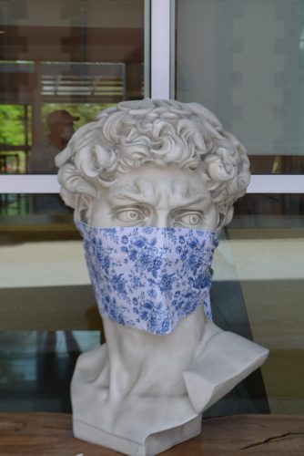 Bust wearing a COVID-19 face mask from our recent staycation day trip