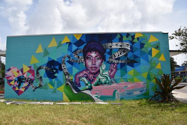 mural of Aretha by artist Zulu