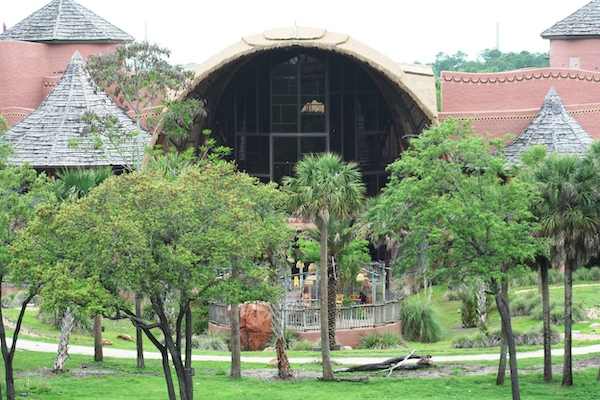 view of Disney's Animal Kingdom Lodge from the Savannah