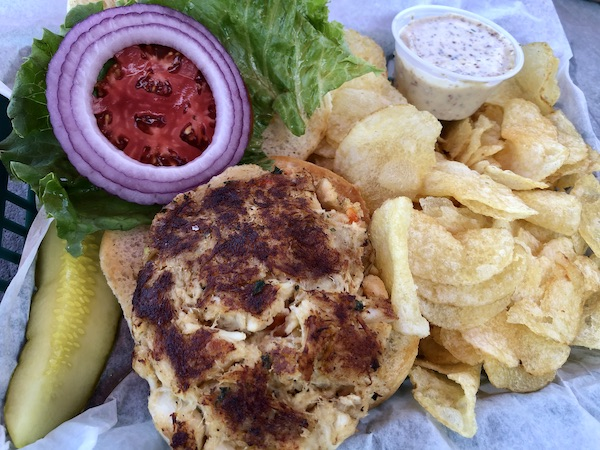 Sautéed Lobster-N- Crab Cake Sandwich at Squid Lips in Melbourne Florida