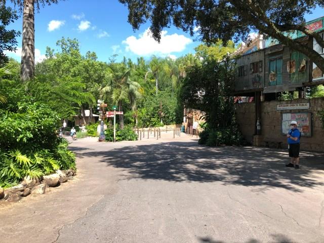 empty walkway in Disney's Animal Kingdom facing toward UP! A Great Bird Adventure