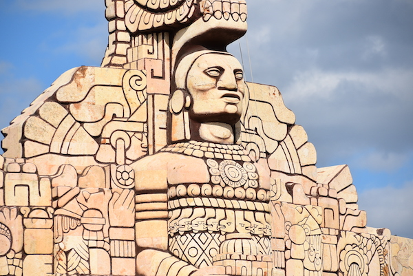 Mayan influences in the Monument to the fatherland in Merida Mexico