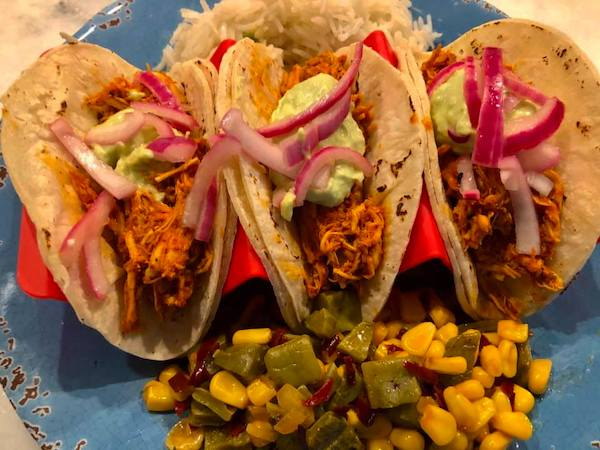 chicken pibil tacos with warm nopales and corn