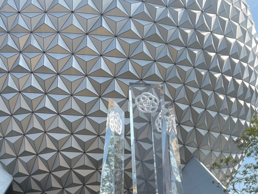 new decorative columns in from of EPCOT's Spaceship Earth