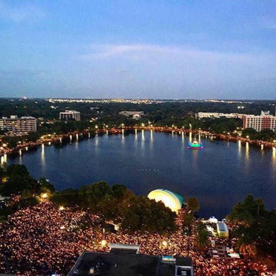 areal photo of lake eola during the PULSE memorial
