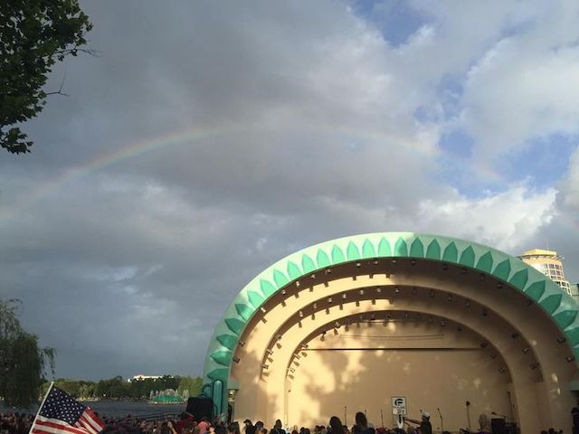 Rainbow over lake Eola in Orlando during the memorial for the victims of the PULSE massacre