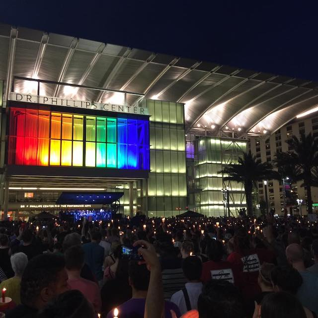 candle light memorial at the Doctor Phillips Center in Orlando following the Pulse Massacre