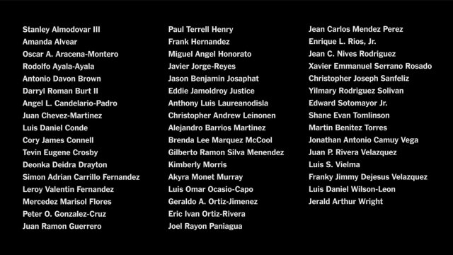Names of the 49 people murdered in the PULSE Massacre