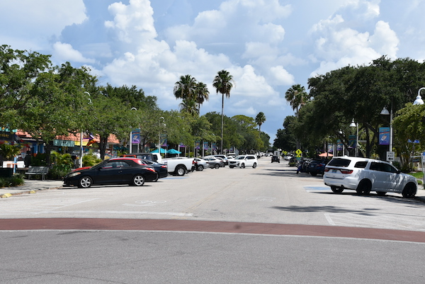 Shops and free parking along the Gulfport Florida waterfront